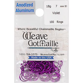 Anodized Aluminum Jumprings 7mm 100/Pkg-Violet HPAA18A7-VLET
