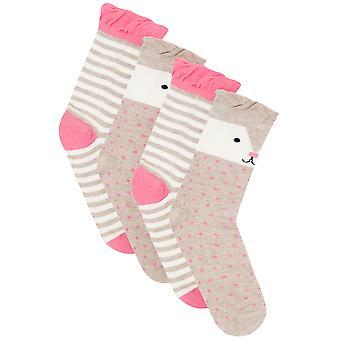 2 PACK Brown, Pink & Multi Cute Bear Socks