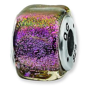 Sterling Silver Reflections Purple Dichroic Glass Square Bead Charm