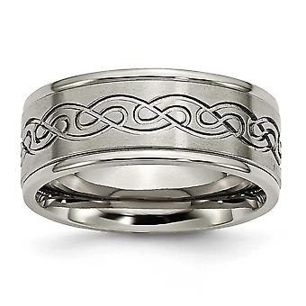 Titanium 9mm Scroll Design Brushed and Polished Band Ring - Size 10.5