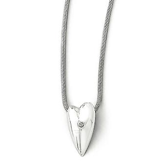 White Ice .01ct Diamond Heart Necklace -.01 dwt - 18 Inch