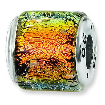 Sterling Silver Antique finish Reflections Orange Dichroic Glass Bead Charm