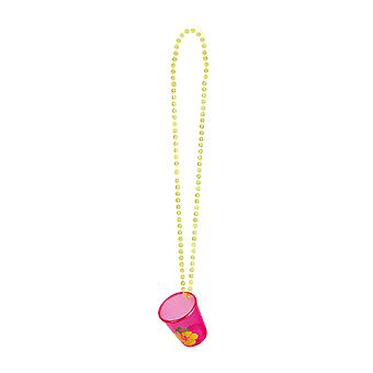 Hawaiian Flower Party Shot Glass with Necklace Party Supply-Pink