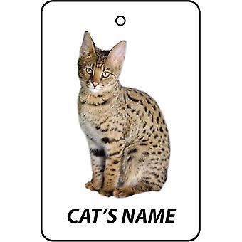 Personalised Savannah Cat Car Air Freshener