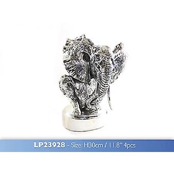 Elephant Bust Silver Figurine 30cm Resin Ornament Home Decoration
