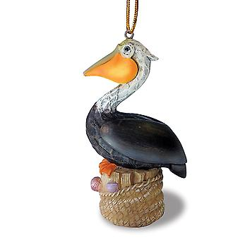 Pelican Resting on Piling Painted Resin Christmas Holiday Ornament Cape Shore