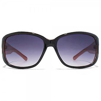 Carvela Classic Rectangle Wrap Sunglasses In Black On Coral
