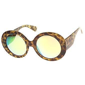 Kvinders High Fashion Chunky farvede spejl runde Oversize solbriller 50mm
