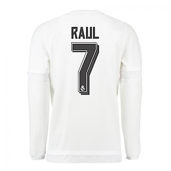 2015-16 Real Madrid Long Sleeve Home Shirt (Raul 7) - Kids