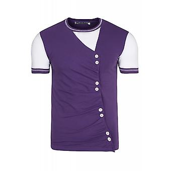 RUSTY NEAL buttons mens T-Shirt violet with buttons