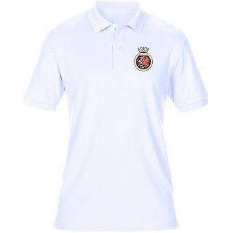 HMS Marlborough broderad Logo - officiell Royal Navy Mens Polo Shirt