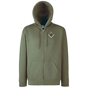 Freemasons G Gnosis Square And Compass Embroidered Logo - Zipped Hoodie Jacket