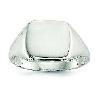 Sterlingsølv poleret Engravable lukket tilbage 12.5x14mm Solid tilbage signetring - ringstørrelse: 9-11