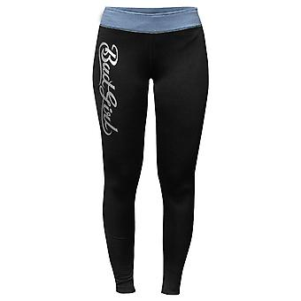 Bad Girl Logo Long Fitness Tights - Black/Blue Marl