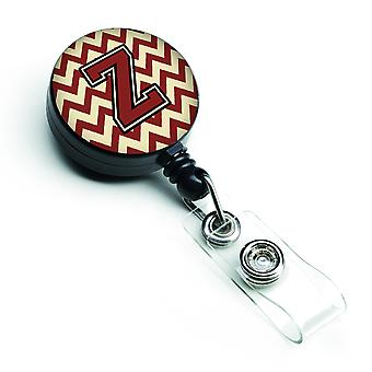 Letter Z Chevron Maroon and Gold Retractable Badge Reel