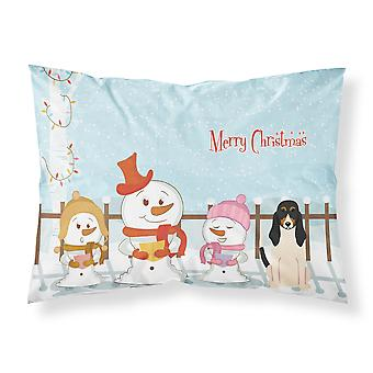 Merry Christmas Carolers Swiss Hound Fabric Standard Pillowcase
