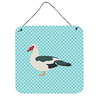 Muscovy Duck Blue Check Wall or Door Hanging Prints