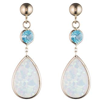 14K Yellow Gold Created Opal Dangle Earring with Color Stone
