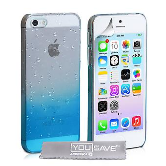 Yousave Accessories Iphone SE Raindrop Hard Case - Blue / Clear