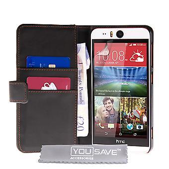 HTC Desire EYE Portfel skórzany efekt Case - czarny