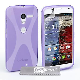 Yousave Accessories Motorola Moto X Silicone Gel X-Line Case - Purple