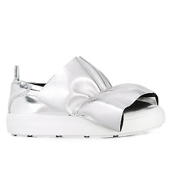 Msgm women's 2241MDS05X013 silver leather slip on sneakers