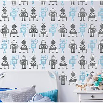 Robot Wallpaper Stencil