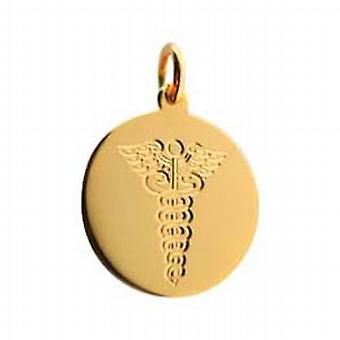 18ct Gold 20mm hand engraved Medical Alarm Disc