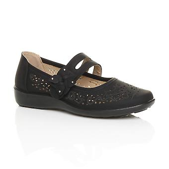 Ajvani womens flat grip sole padded cushioned mary jane hook & loop comfort shoes