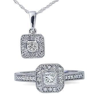 1ct Princess Cut Diamond Halo Ring & Pendant Set 14K White Gold