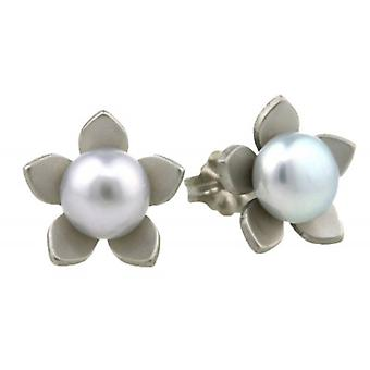 Ti2 Titanium Large Flower and Pearl Stud Earrings - Natural Cream