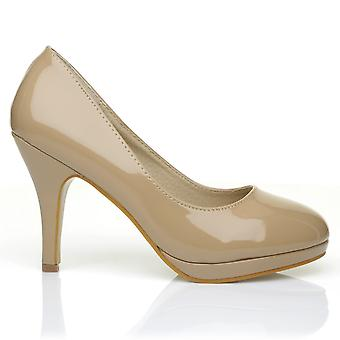 CHIP Dark Nude Patent Leather Pumps Mid-High Heel Low Platform Office Court Shoes