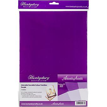 Hunkydory Adorable Scorable A4 Cardstock 24/Pkg-Purple Tones AS173