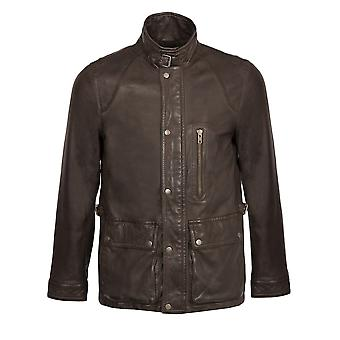 Rob Leather Coat in Dark Brown