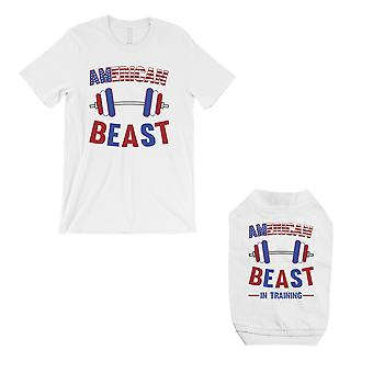 American Beast Training Small Dog and Owner Matching Shirts White