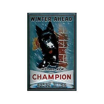 Champion Spark Plugs (Winter) Embossed Steel Sign