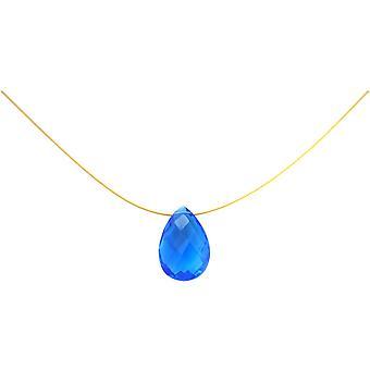 Gemshine - damer - halskæde - vedhæng - forgyldt - Topaz - facetslebet kvarts - drop - blå - 45 cm