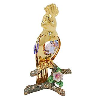 Florencia bird Dekoskulptur gold plated Crystal Parrot glass stones