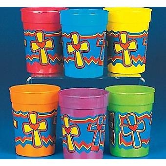 12 Religious Christian Cross Themed Plastic Party Cups | Kids Party Cups
