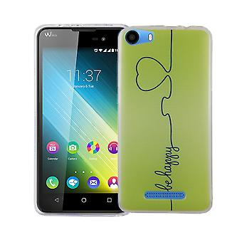 Caja móvil para adorno de bolsa protectora caso cubierta WIKO Lenny 2 slim TPU + cristal de protección 9 H de la armadura verde feliz