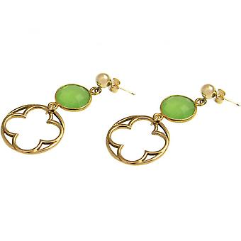 Ladies - earrings - 925 Silver gold plated - chalcedony - Green - 5 cm