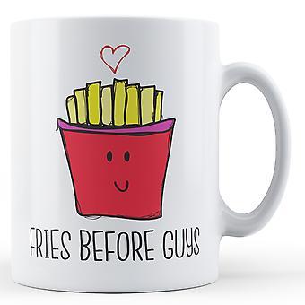 Pommes frites innan killar - tryckt mugg