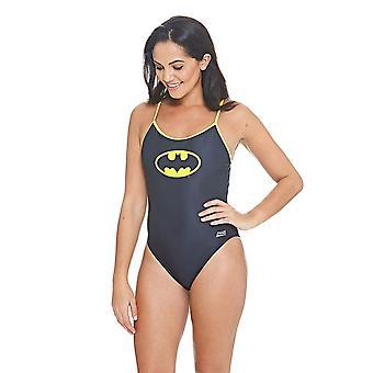 Zoggs Women's Batman Sprintback Swimsuit, Black/Yellow