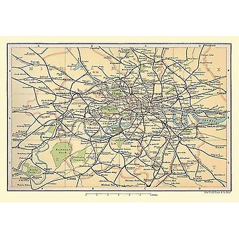 Spoorlijn kaart van London & buitenwijken 1908 1000 stuk Jigsaw Puzzle (jhg)