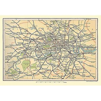 Railway Map Of London & Suburbs 1908 1000 Piece Jigsaw Puzzle (jhg)