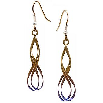 TI2 titane Wirework Cassini boucles d'oreilles - Brown