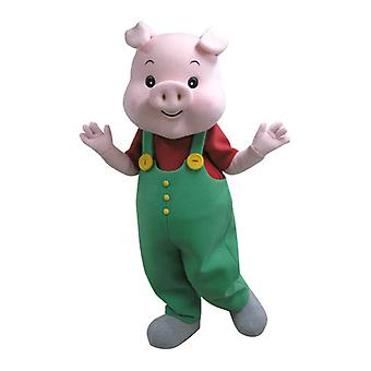 mascot pig SPOTSOUND pink with green overalls