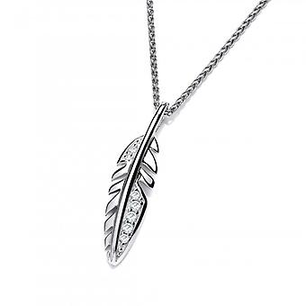 Cavendish French Cute Silver and CZ Feather Pendant with a 16-18