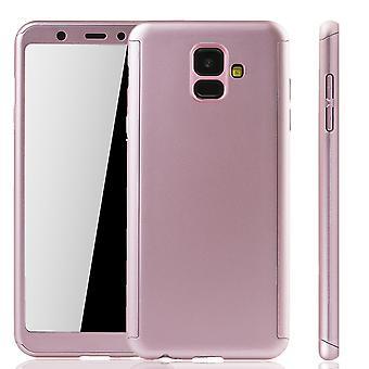 Samsung Galaxy A6 2018 Handy-Hülle Schutz-Case Full-Cover Panzer Schutz Glas Rose