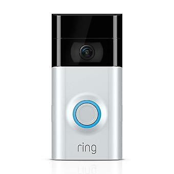 Ring Video Doorbell 2 - 1080p HD Video, Two-Way Talk, Motion Detection, Wi-Fi Connected, Works with Alexa (Satin Nickel)